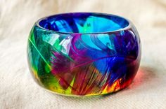 Parrot Feathers in Colored Transparent Resin Bangle Bracelet. Real Feathers. Natural Colorful Composition. Exotic Summer Jungle Design. M