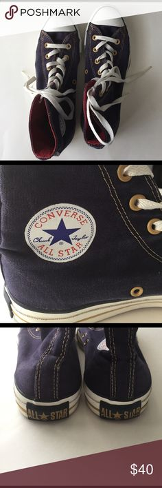 Converse - Chuck Taylor - All Stars-Unique Color! Just Listed Converse - Chuck Taylor All Stars. Cute purple color with gold stripes and gold stitching. Red inside. Size 8. Gently worn. Great Condition. Make me an offer.  Color is just as seen in the pictures. Canvas, High Tops  with rubber sole. Converse Shoes Sneakers
