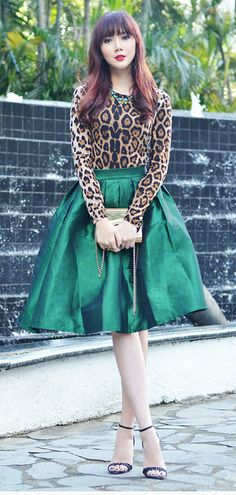 Green A Line Midi Skirt | Jill Dress