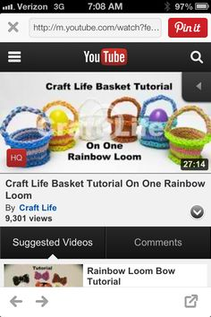 http://m.youtube.com/watch?feature=youtu.be&v=-xH25phNN3o  Creating Easter baskets out of Rainbow Loom.