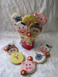 Cookie Centerpieces farm animal birthday theme