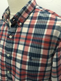 Polo #RalphLauren #Mens #Shirt XL Slim Fit Blue Red Cream #Checked Cotton