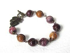 Mookaite Bracelet Gemstone Jewellery Wire Wrap by UrbanDaisyDesign, £17.95