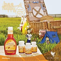 Good morning Be happy and smile Forever Living Aloe Vera, Forever Aloe, Bee Happy, Happy Smile, Holistic Massage, Bee Propolis, Massage Business, Forever Living Products, Table Decorations