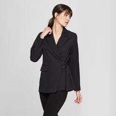 Women's Long Sleeve Side Tie Collared Blazer - Prologue Black L, Size: Large Fashion Brand, New Fashion, Workwear Brands, Professional Attire, Fall Looks, Who What Wear, Work Wear, Collars, Blazer