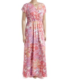 Another great find on #zulily! Coral & Ivory Paisley Surplice Maxi Dress - Plus by GLAM #zulilyfinds