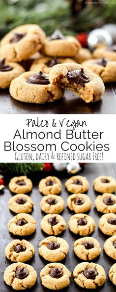 Almond Butter Blossom Cookies! This recipe is easy and healthy! Paleo, vegan, gluten-free, dairy-free and refined sugar free!
