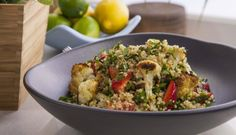 Freekeh and Quinoa Tabbouleh with Roast Cauliflower and Strawberries