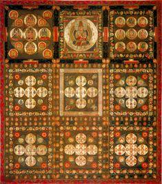 金剛界曼荼羅 中心は、大日如来の大人の姿 対となる胎蔵界曼荼羅では子供の姿