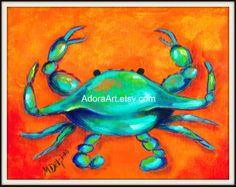 BLUE CRAB print of original painting nautical shore beach ocean seashell seafood shellfish canvas bold colorsblue green orange. $10.00, via Etsy.
