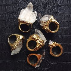 quartz/stone rings. chunky rings.