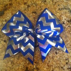 Royal Blue Silver Chevron Cheer Bow by SavvysCheerBowtique on Etsy