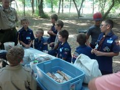 Webelos learning fire starting and safety.