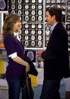 Derek and Meredith (Patrick Dempsey and Ellen Pompeo), Grey's Anatomy Seattle Grace's legendary make-out elevator became the setting of Derek's proposal to Meredith.