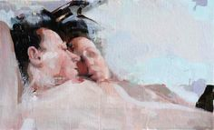 """Alex Kanevsky """"J.F.H. with her reflection"""" oil on cnvas 29x47"""