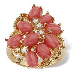 PalmBeach 18k Gold over Sterling Silver Coral and Cubic Zirconia Cluster Ring Naturalist - Overstock Shopping - Big Discounts on Palm Beach Jewelry Cubic Zirconia Rings