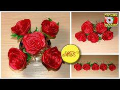 Шпильки с красными розами в технике канзаши - YouTube