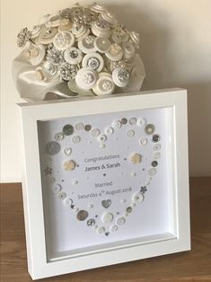 Excited to share this item from my #etsy shop: Wedding Frame Love Gifts Personalised Wedding Gifts Mr and Mrs Bride and Groom Wedding Gift Button Art Wedding Gift Ideas Wedding Day Gift #wedding #weddingframe #personalisedwedding #weddinggifts #mrandmrs #brideandgroom