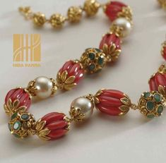 Coral Beads Necklaces by Hira Panna- Jan Marchand Gold Earrings Designs, Gold Jewellery Design, Bead Jewellery, Beaded Jewelry, Beaded Necklace, Designer Jewelry, Temple Jewellery, Silver Jewellery, Silver Earrings