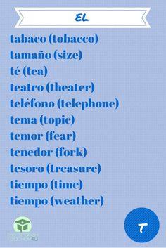 Spanish Vocabulary T