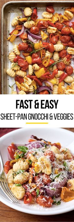 This SIMPLE, EASY gnocchi and veggies recipe is the sheet pan meal for quick weeknight dinners you've been waiting for. This healthy meal is great for vegetarians or if you're trying to eat more vegetables in your meals. To make this, you'll need frozen or fresh gnocchi, cherry tomatoes, garlic, ground black pepper and olive oil.