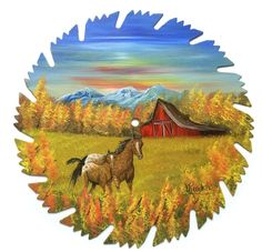 Hand Painted Saw Blade Art Mtn Fall Horses Red Barn NEW!!  Mother and Colt