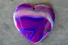 46mm Purple, Pink Agate Pendant, Purple Stone Heart, Designer Gemstone Pendant, 46x44x6mm Natural Stone, Stone Focal Bead by TheBeadBandit on Etsy