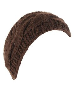 brown cable knit headwrap