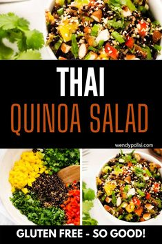 Of all the quinoa recipes I've made, this Thai Quinoa Salad is one of my all-time favorites. What I love most about this healthy recipe is the way the flavors and textures play together. The bright dressing features lime juice, sesame oil, and garlic and just the right blend of sweet heat. It plays perfectly with ridiculously aromatic mint and cilantro! You are going to love this vegan quinoa salad. Best Quinoa Salad Recipes, Vegan Dinner Recipes, Vegan Breakfast Recipes, Healthy Recipes, Dinner Salads, Sesame Oil, Lime Juice, Cilantro, Plays