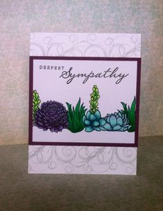 Succulent sympathy card. Hero Arts Stamp Your Own Succulent stamp. Stamping and Copic coloring. #HeroArts #CTMH