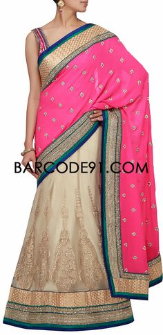 Buy it now  http://www.barcode91.com/a-pink-and-cream-net-langha-saree-with-kundan-embroidery-by-barcode-91-exclusive.html  A pink and cream net langha saree with kundan embroidery by Barcode 91 Exclusive