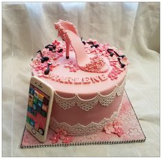 Girly cake with high heel, flowers, music notes and iphone