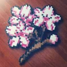 Cherry blossom perler beads by plur_child (turn these into coasters!!)