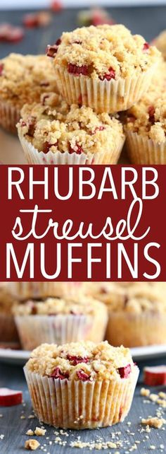 Best Ever Rhubarb Streusel Muffins {Fresh Fruit Muffins!} - The Busy Baker - - These Best Ever Rhubarb Streusel Muffins are the perfect sweet snack! This is such an easy recipe that's packed with fresh rhubarb and a sweet, crunchy streusel topping! Mini Desserts, Easy Desserts, Dessert Recipes, Rhubarb Desserts Easy, Rhubarb Cupcakes Recipe, Healthy Rhubarb Recipes, Gourmet Desserts, Fruit Recipes, Plated Desserts