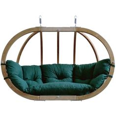Globo Royal Garden or Indoor Hanging Chair in Weatherproof Green ($92,985) via Polyvore featuring home, outdoors, patio furniture, hammocks & swings and hanging garden chair