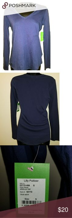 Lilly Pulitzer shirt Dark blue long sleeve shirt, soft material NWT Lilly Pulitzer Tops Tees - Long Sleeve