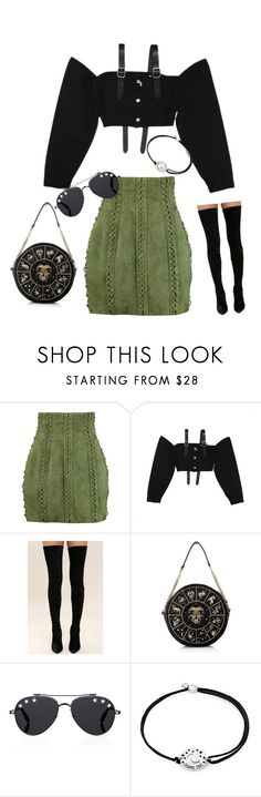 """""""Untitled #553"""" by farrahaqs on Polyvore featuring Balmain, M.Y.O.B., Cape Robbin, Givenchy and Alex and Ani"""