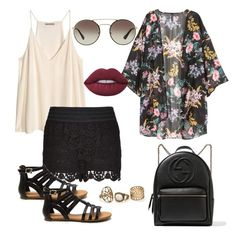 """Untitled #99"" by tinaioana on Polyvore featuring H&M, City Chic, Gucci, Lime Crime and Prada"