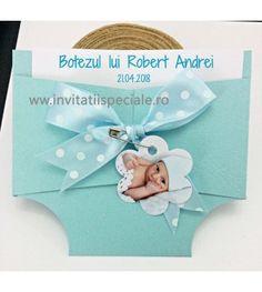 Invitatie Scutec Buline Bleu + Foto