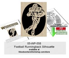 The football runningback is the ultimate multi-tasker! They have to assess the opponent, have speed and agility as well as opening up an opportunity for the quarterback. Any football enthusiast would enjoy receiving a gift like this basketball scroll saw silhouette. This scroll saw silhouette pattern is a good woodworking plan for beginners to practice cutting tight spots and quick turns. 05-WP-558 - Football Runnignback Silhouette Downloadable Scrollsawing Pattern PDF