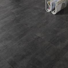 Dalle stratifiée Novofloor, décor béton noir, L.58.08 x l.60.1 cm