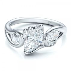Custom Organic Marquise and Pear Diamond Engagement Ring 14k White Gold Ring 2 Diamonds - .65 ctw Clarity: VS2 - Color: F-G