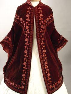 Mantle, circa 1860, silk, velvet, silk embroidery, lovely colours, from the Old Sacramento Living History Program.