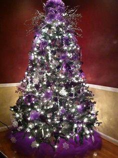 christmas tree purple and silver christmas pinterest