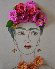 """""""Frida"""" Flower Face Print"""