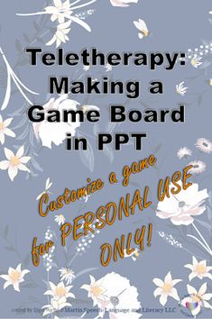 Martin Speech-Language and Literacy LLC: Teletherapy Materials: Making Board Game in Power Point Presentation Folder, Presentation Design, Speech Language Pathology, Speech And Language, Speech Therapy, Play Therapy, Therapy Ideas, Brochure Design Layouts, Make A Game