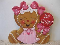 HP Gingerbread girl be mine Valentines Day shelf sitter hand painted (ebay countreecorner us only)