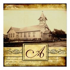 Country Old Church Vintage Wedding Invitations