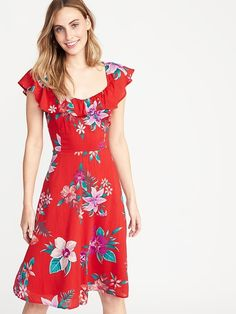 Old Navy Women's Fit & Flare Ruffle-Trim Cami Dress Red Floral Regular Size S Fit Flare Dress, Fit And Flare, Red Floral Dress, Dress Red, Hot Dress, Spring Dresses, Girls Shopping, Cute Outfits, Navy Outfits