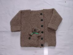 Child's Cardigan with Pocket Teddy Bear Knitting Pattern Teddy Bear Knitting Pattern, Baby Boy Knitting Patterns, Baby Sweater Patterns, Knitted Teddy Bear, Baby Cardigan Knitting Pattern, Baby Afghan Crochet, Teddy Bears, Baby Patterns, Baby Booties Free Pattern